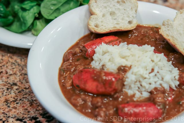 Crawfish Bisque with Rice and French Bread