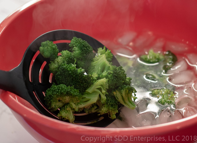 Broccoli Florets in an ice bath